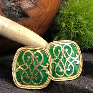 Vintage Enamel Green and Gold Clip On Earrings